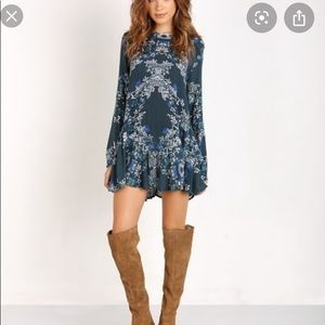 Free people tunic blue and green floral